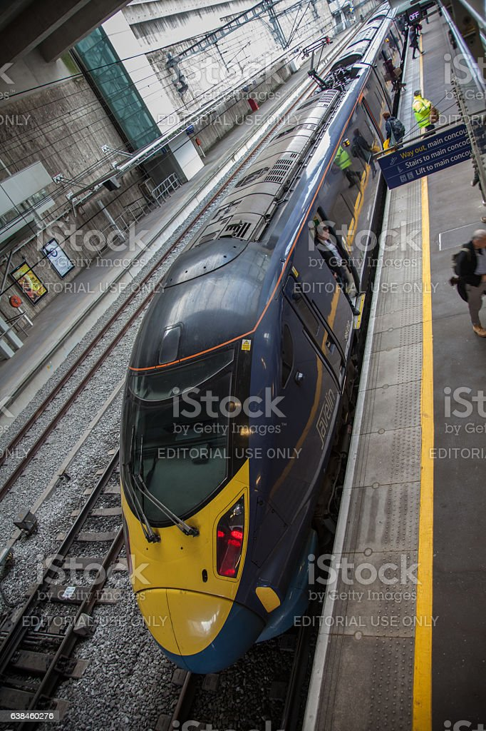 UK Class 395 Electric Multiple Unit at Stratford International Station stock photo