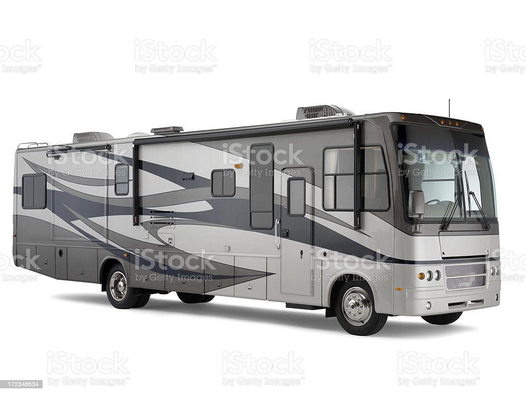 Class A motorhome isolated on white background with drop shadow stock photo