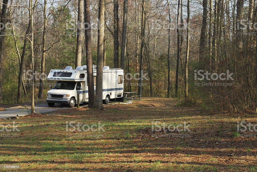 Class C Motorhome in Woods stock photo