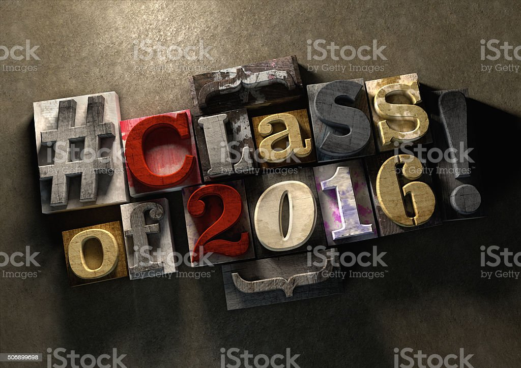 Class Reunion 2016 title in grungy wood block print lettering stock photo