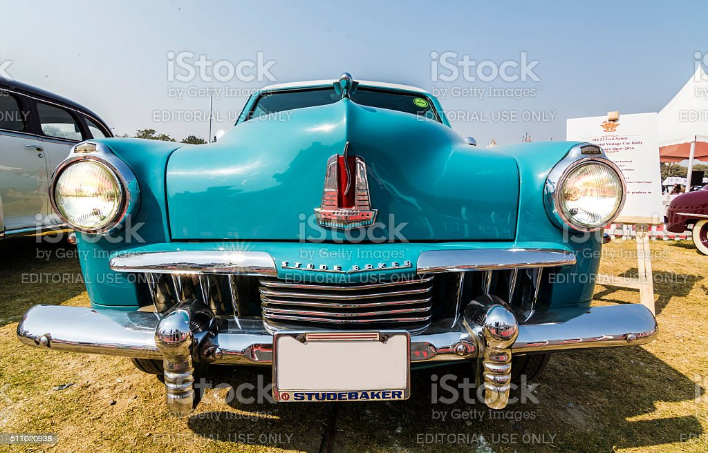 Classic 1947 Studebaker Champion Deluxe Commander in light blue color stock photo