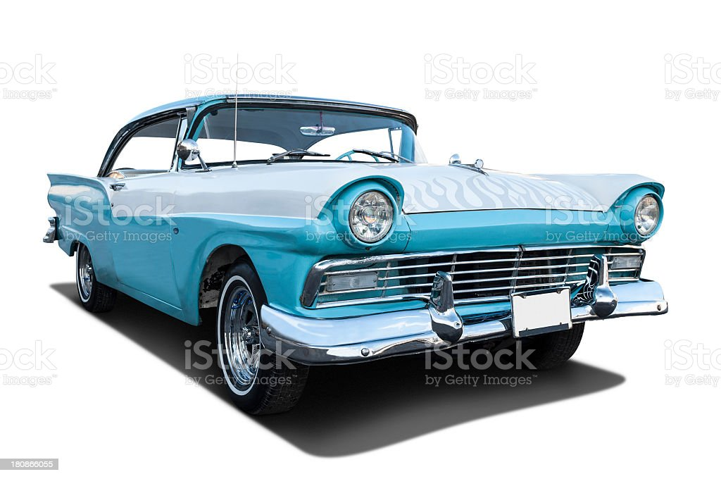 Classic 1957 Ford Fairlane blue royalty-free stock photo