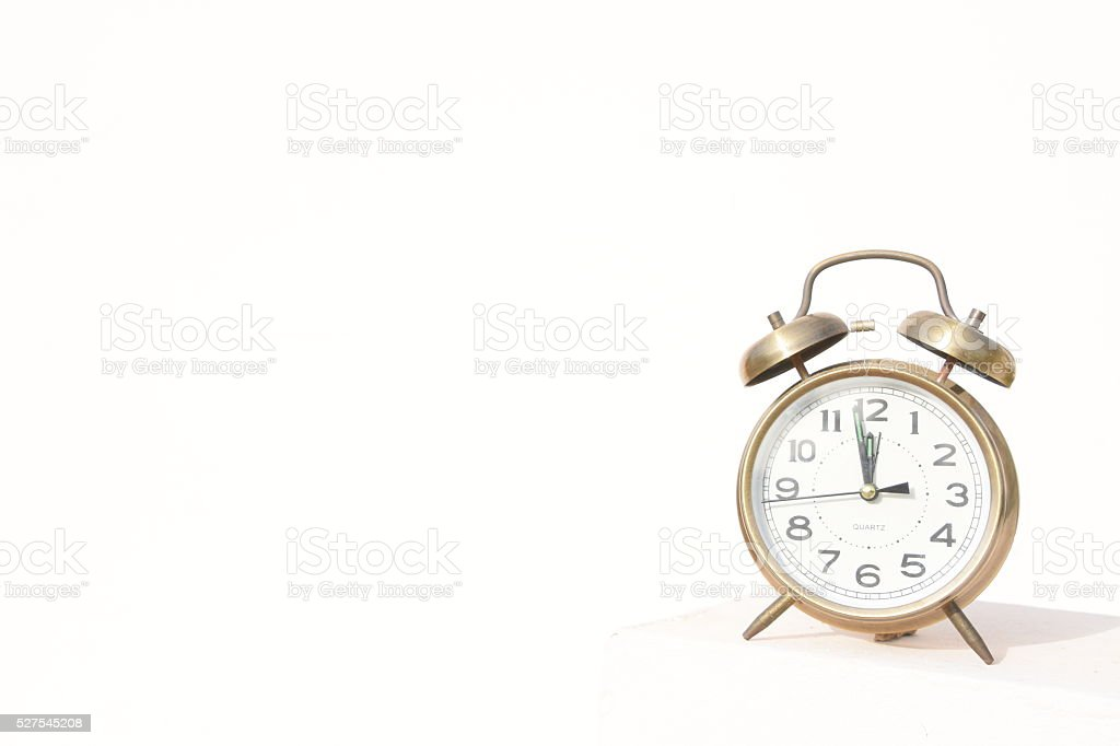 classic Alarm clock, Isolated on white stock photo