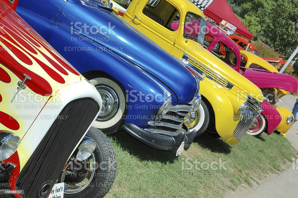 Classic American Automobiles on display at Frog Follies Car Show stock photo