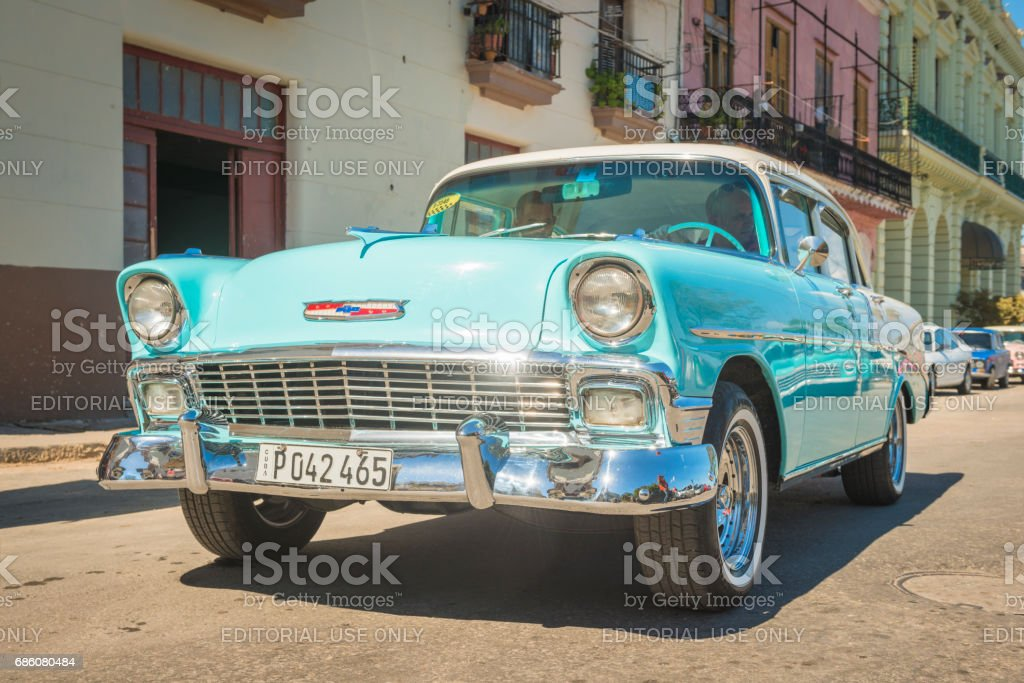 Classic American Car 1950s Chevrolet Bel Air Taxi Havana Cuba stock photo