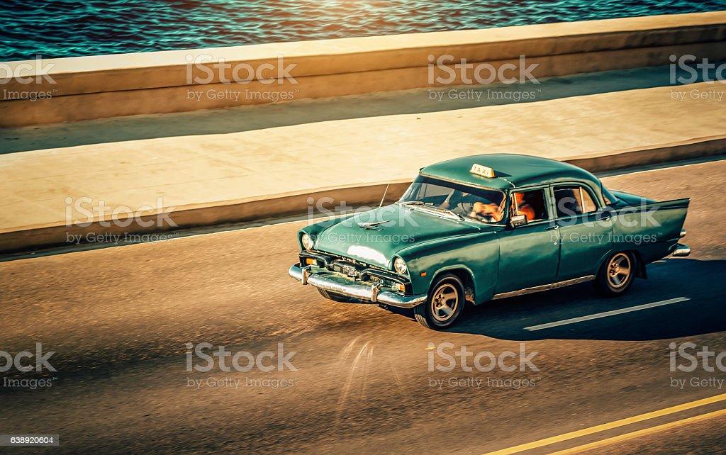 classic american car on the Malecon in Havana, Cuba stock photo