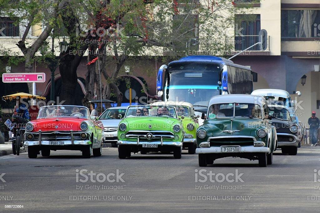 Classic American cars in Havana stock photo