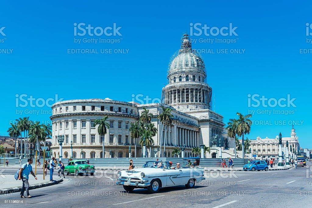 Classic American cars on Havana street stock photo