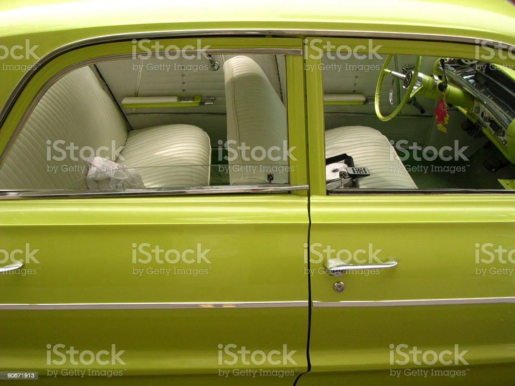 Classic American Green Car stock photo
