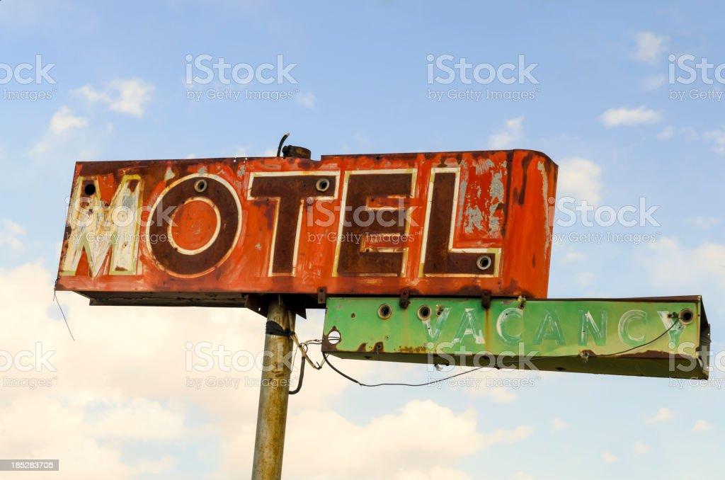 Classic Americana Route 66 Derelict Neon Motel Sign stock photo