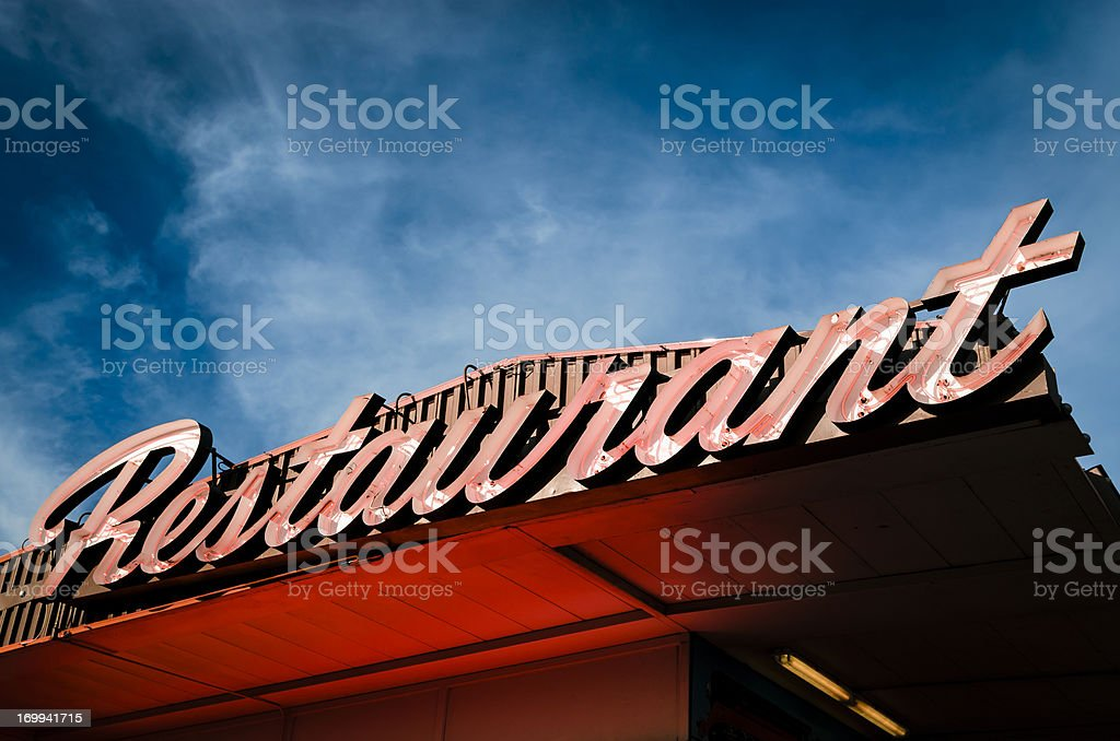 Classic Americana Route 66 Neon Resturant Sign at Twilight royalty-free stock photo