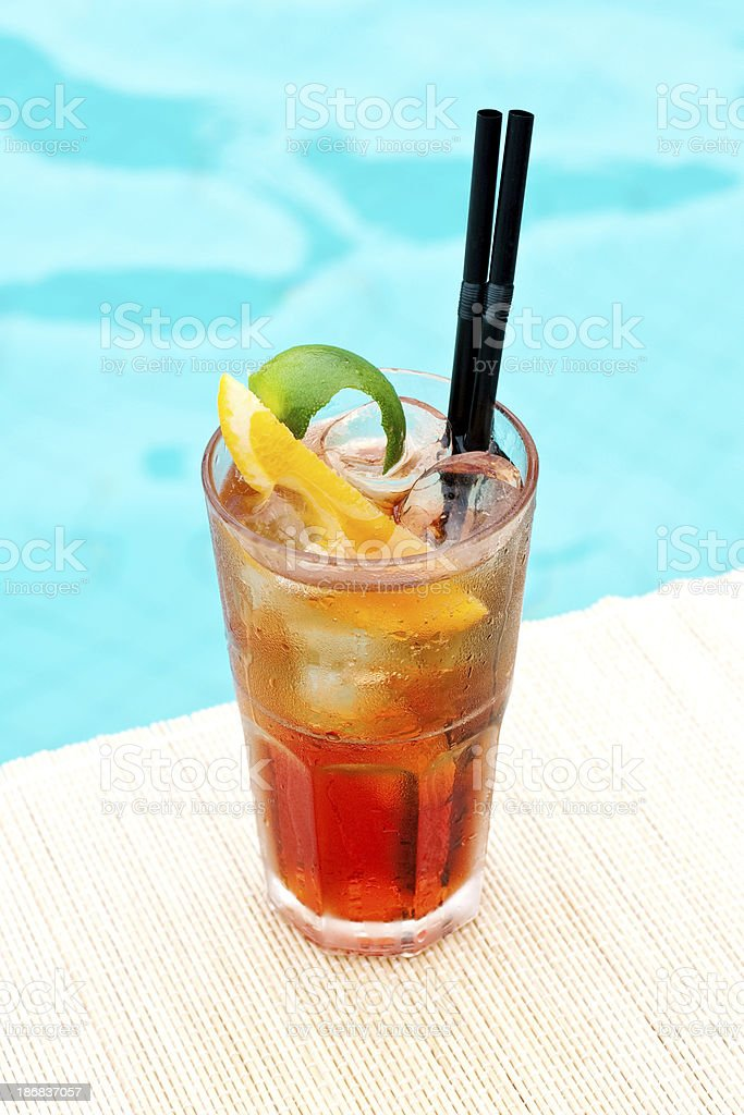 Classic Americano cocktail near waterpool on the mat stock photo