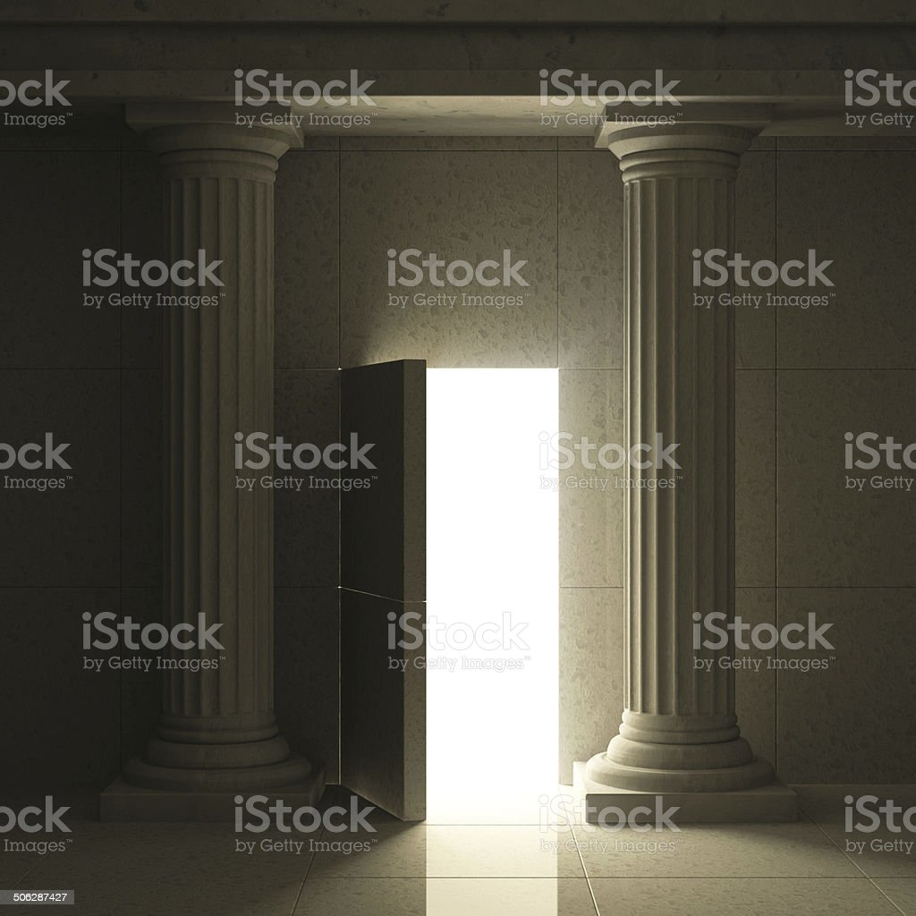 Classic Ancient Interior with Columns and Opened Secret Door stock photo