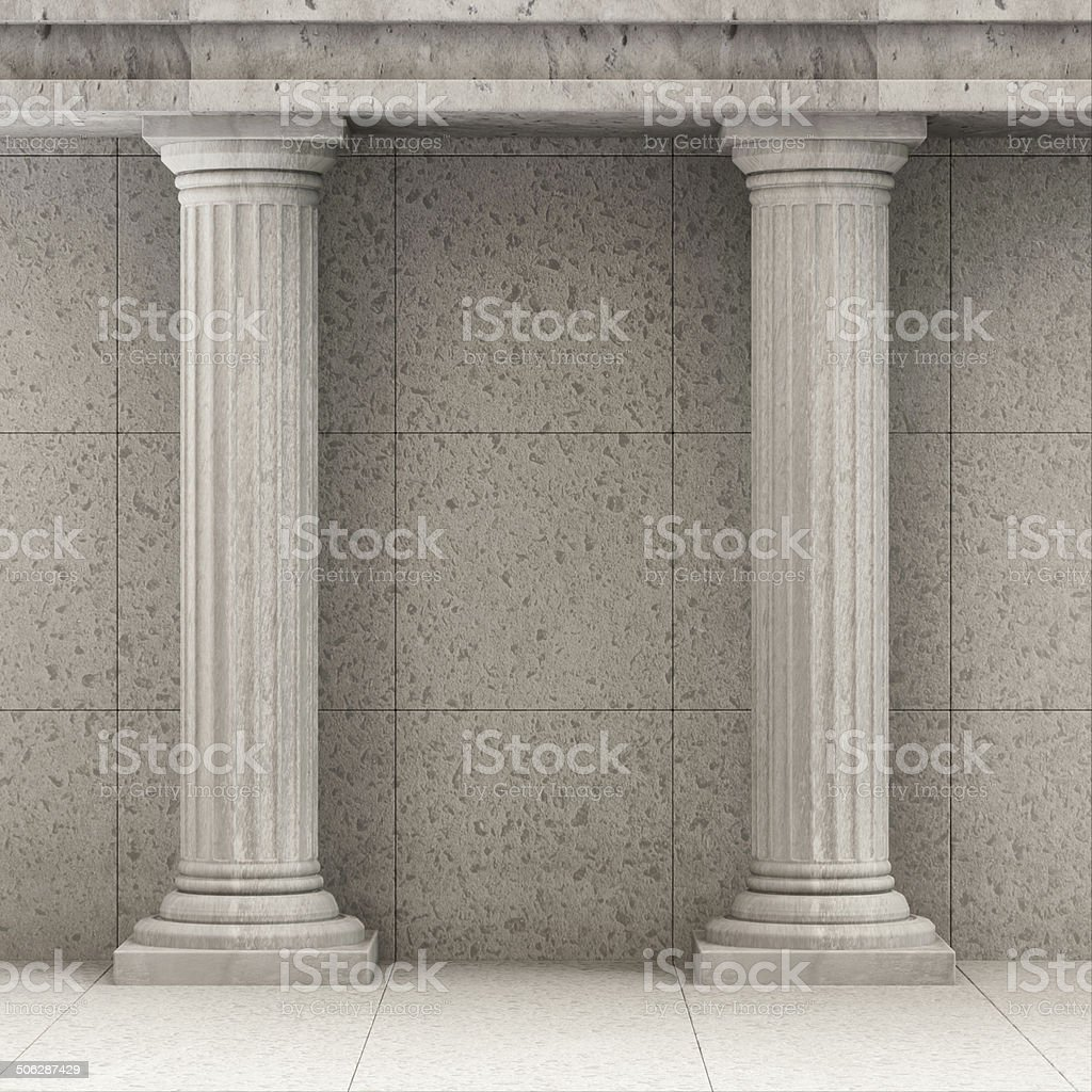 Classic Ancient Interior with Columns stock photo