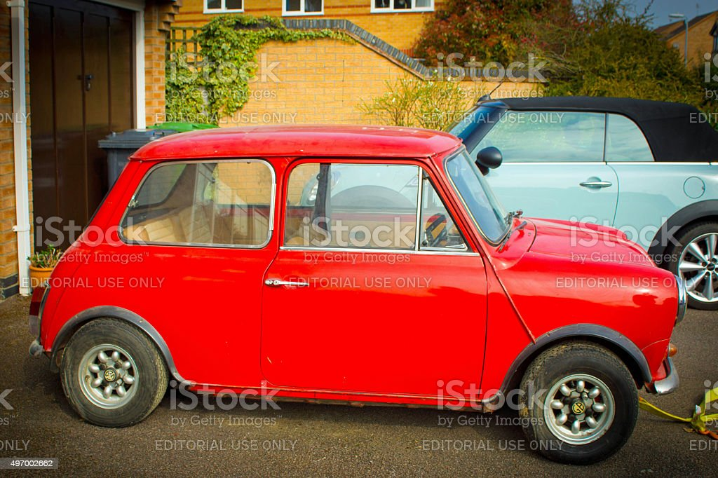 Classic and BMW minis stock photo