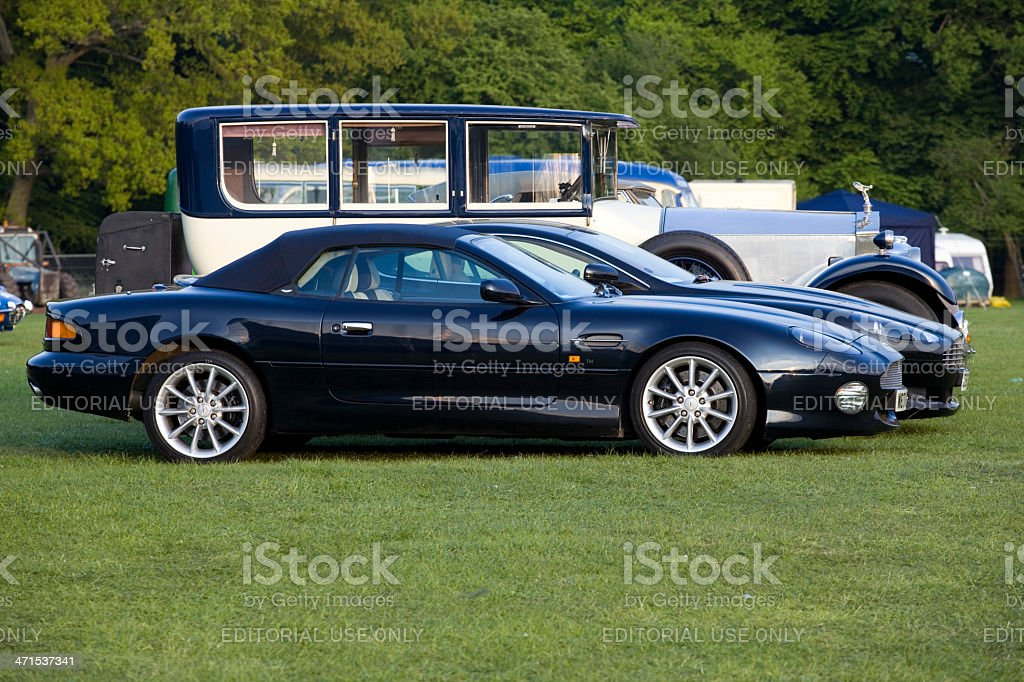 Classic and Modern Cars Aston Martins plus a Rolls Royce stock photo