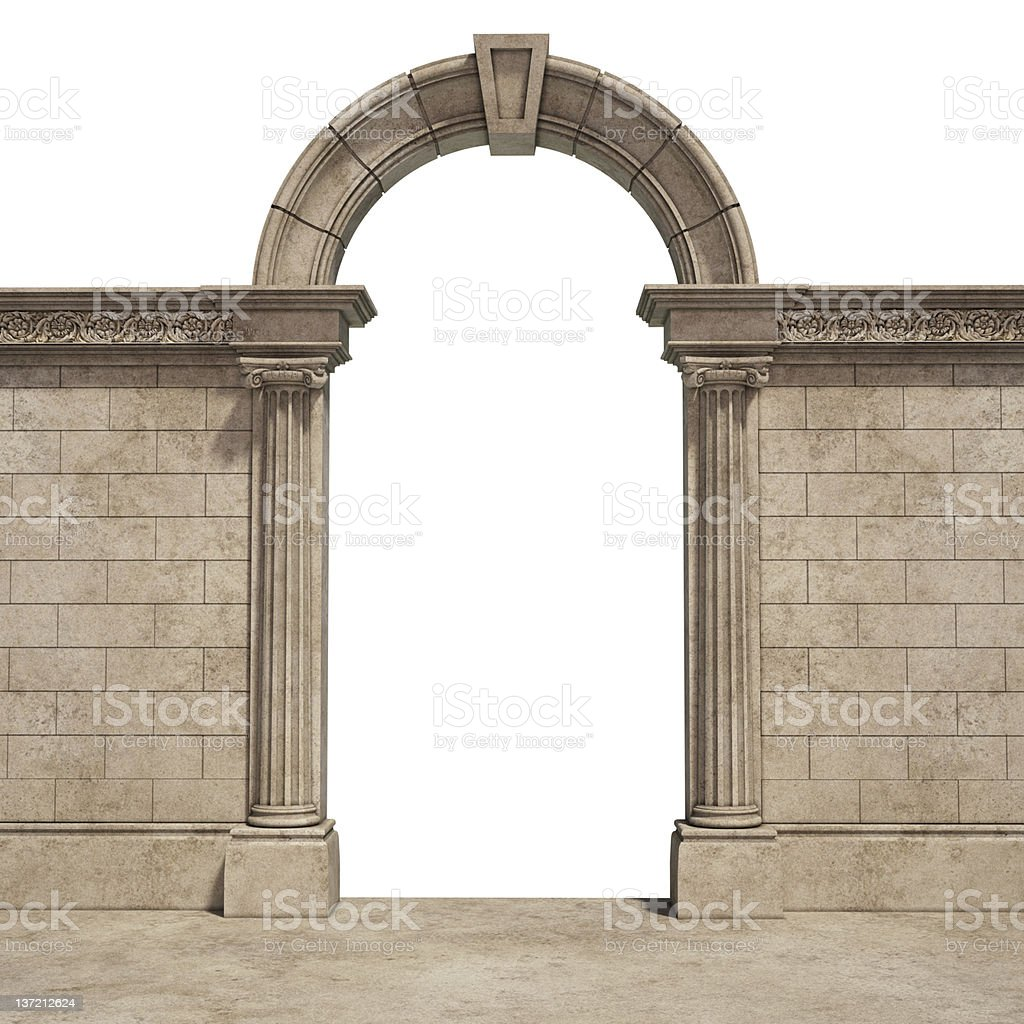 classic arch isolated on white stock photo