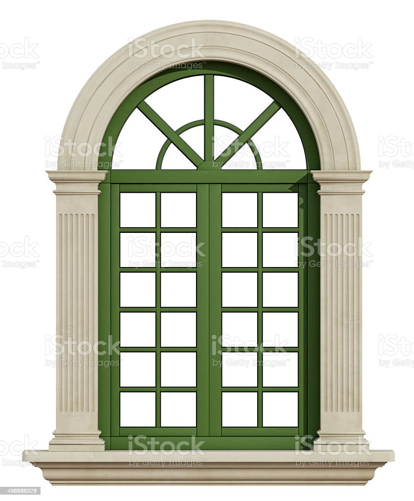 Classic arch window with stone frame stock photo