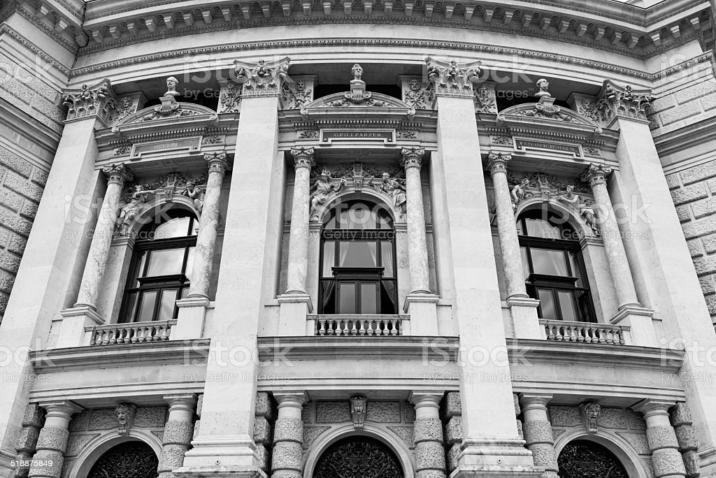 Classic architecture of the Hofburgtheater in Vienna stock photo