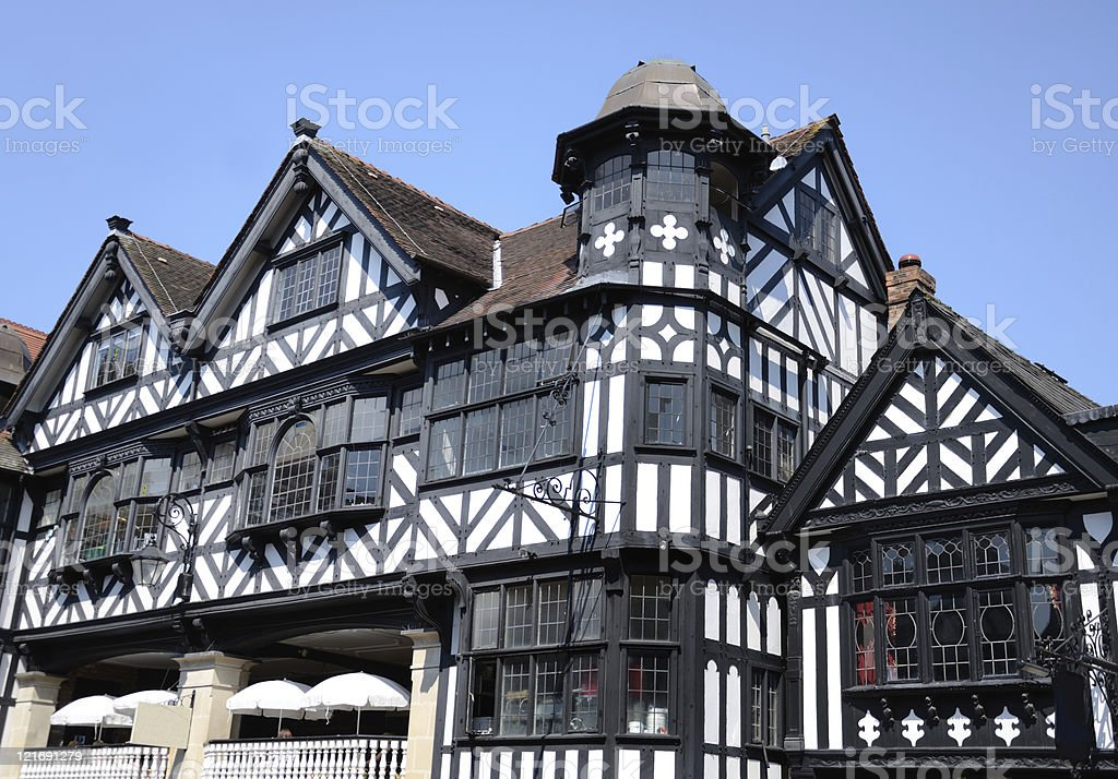 Classic Architecture Styles in Chester City Centre royalty-free stock photo