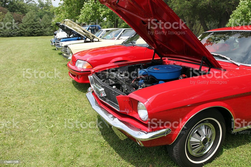 Classic automobiles displayed at Indiana car show.  Summer.  Colorful. stock photo