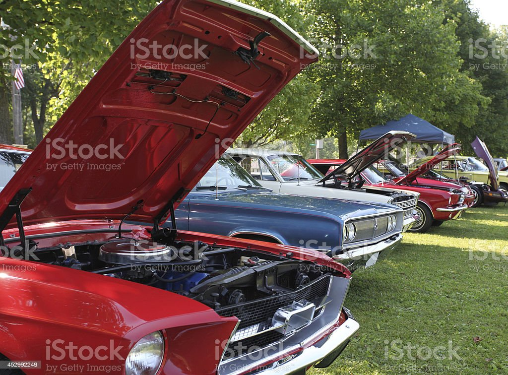 Classic automobiles on display at Indiana car show.  Colorful. stock photo