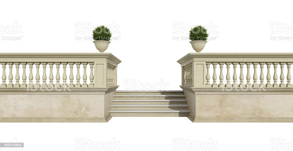 Classic balustrade on white stock photo
