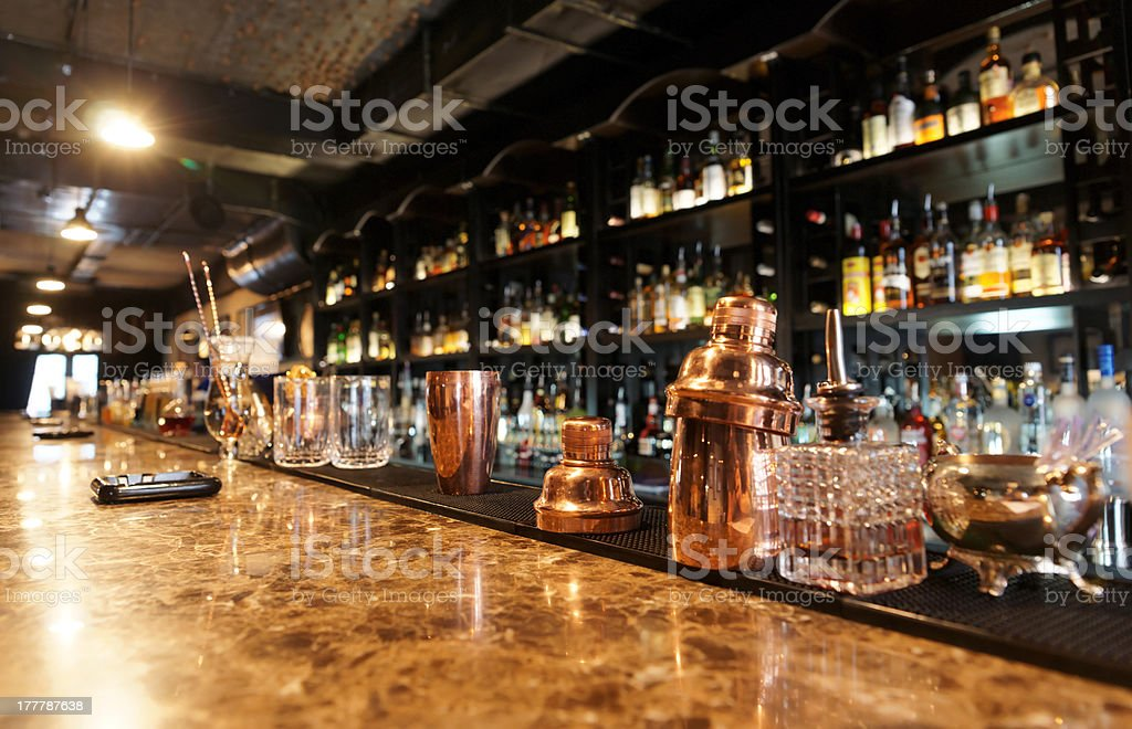 Classic bar counter stock photo