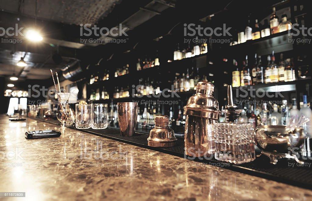 Classic bar counter stock photo
