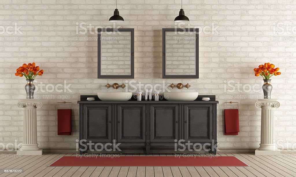 Classic bathroom with double washbasin stock photo