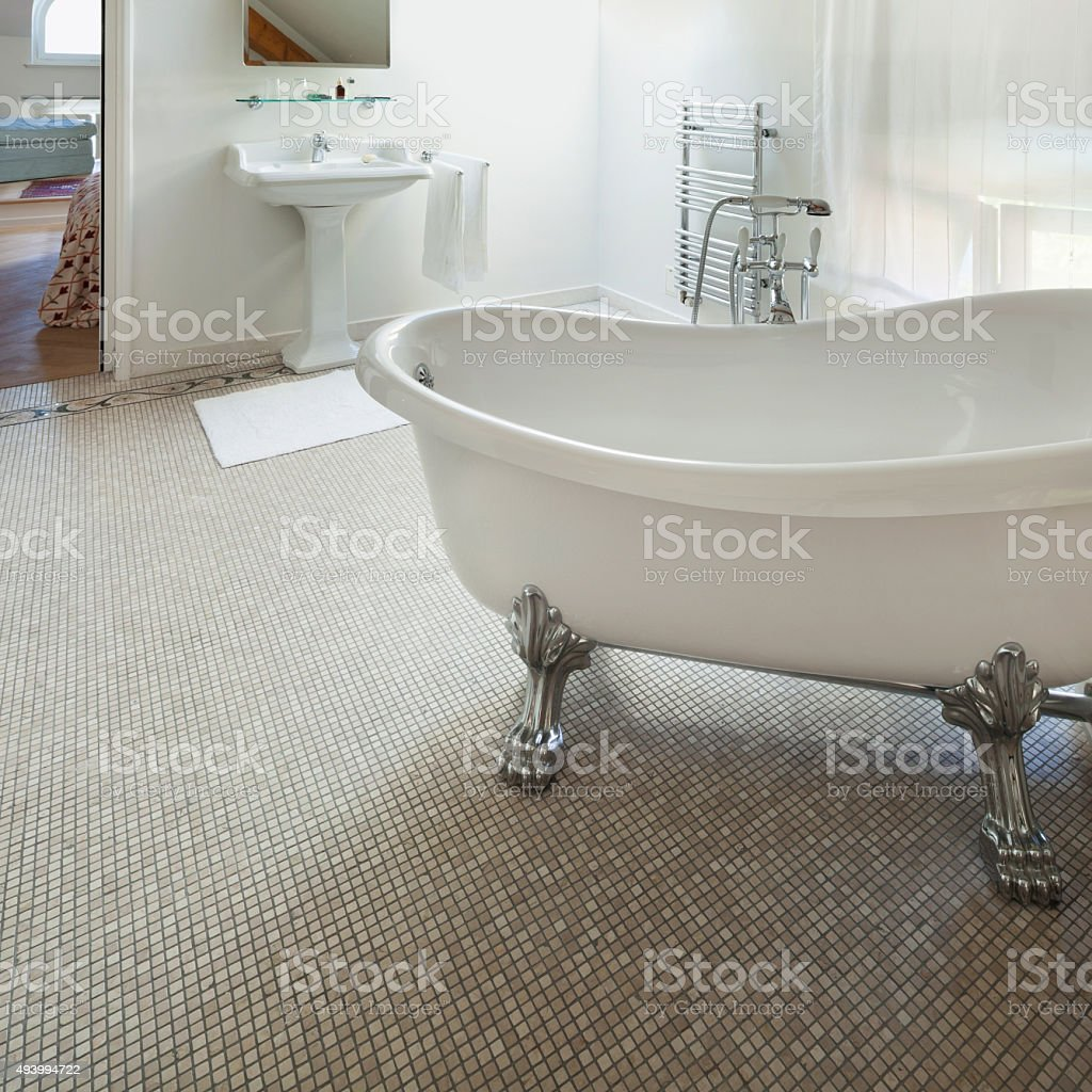 classic bathroom with  white tub stock photo