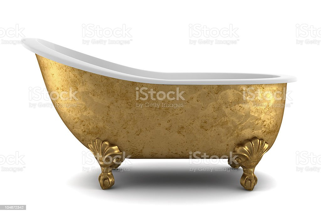 classic bathtub isolated on white background with clipping path royalty-free stock photo