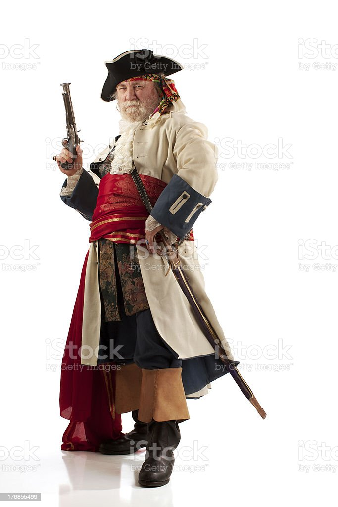Classic bearded pirate captain in defiant pose stock photo