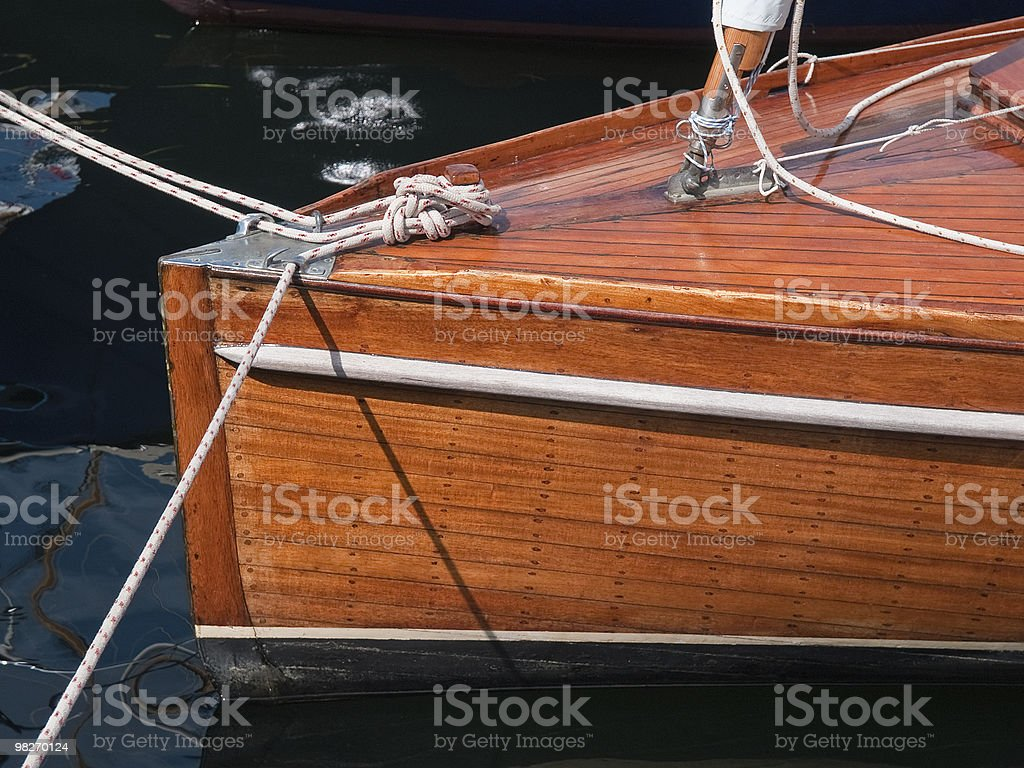 Classic beautiful wooden sailing yacht royalty-free stock photo