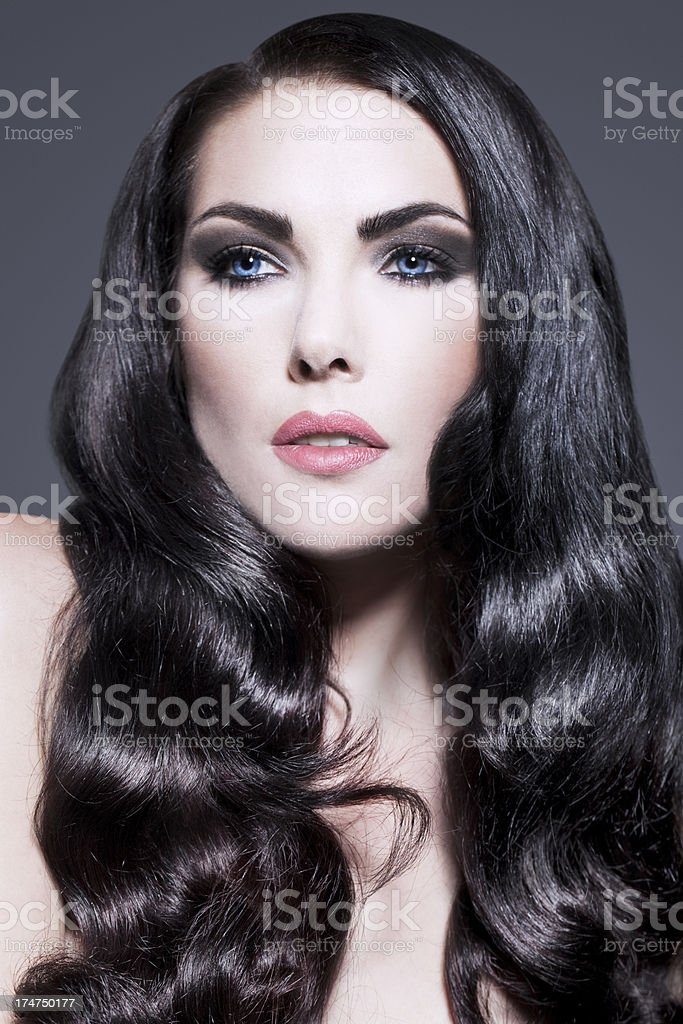 Classic Beauty Long Black Curly Hair royalty-free stock photo