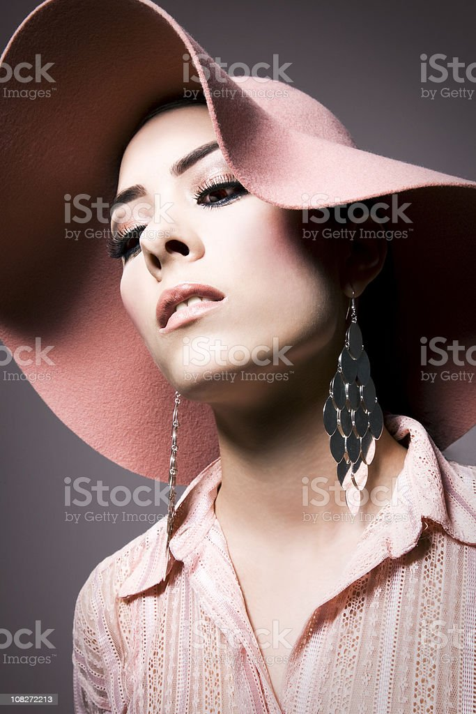 Classic beauty wit hat royalty-free stock photo
