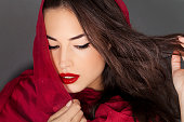 classic beauty with red lips and scraf