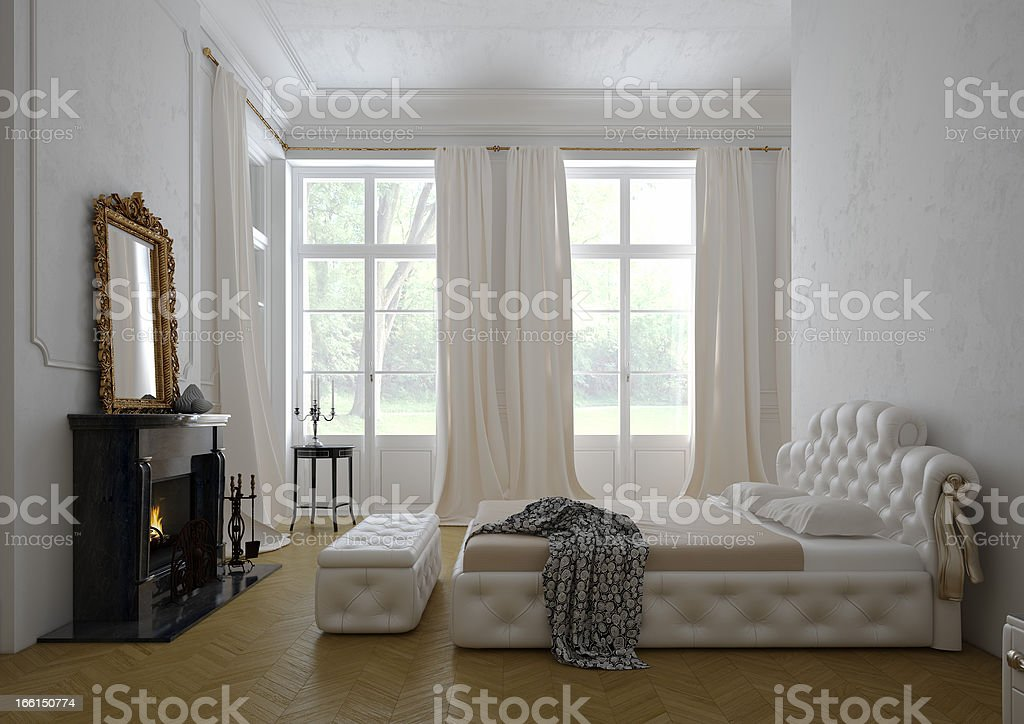 classic bedroom with fireplace royalty-free stock photo