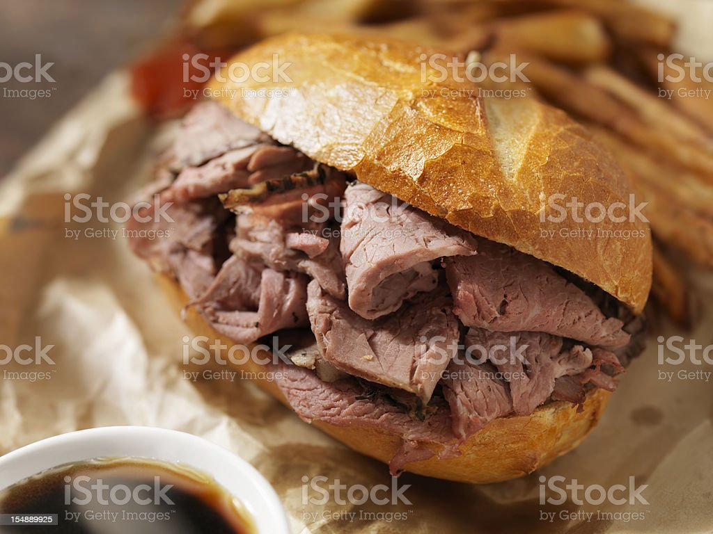 Classic Beef Dip with French Fries stock photo