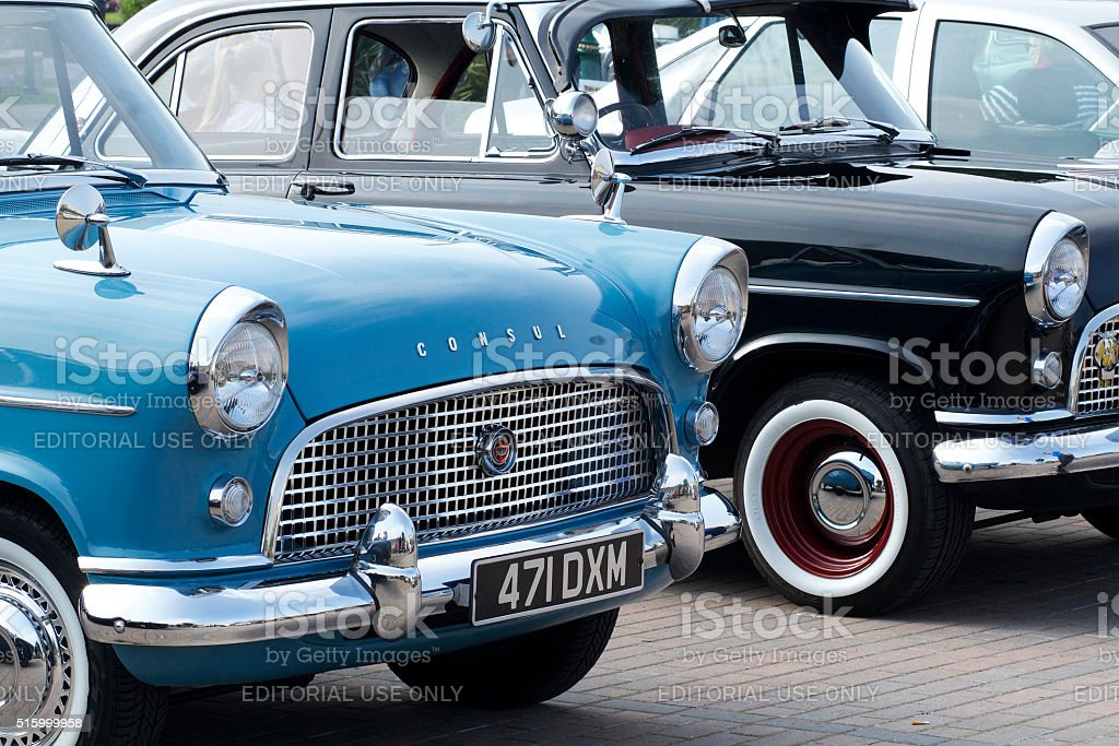 Classic Black and Blue ford Consul stock photo