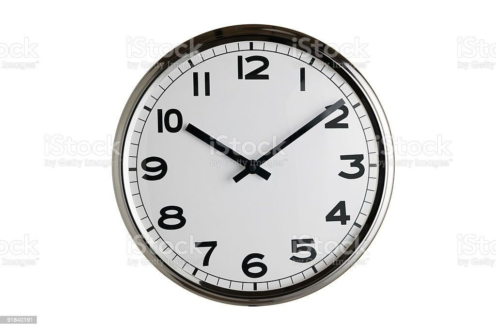Classic black and white clock isolated on white background stock photo