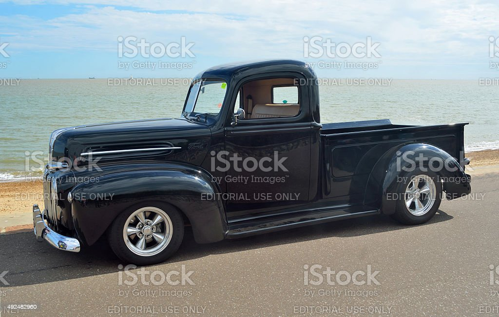 Classic Black Ford pickup truck stock photo