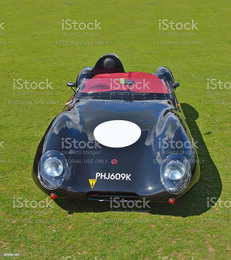Classic Black Lotus racing car in vintage car rally. stock photo