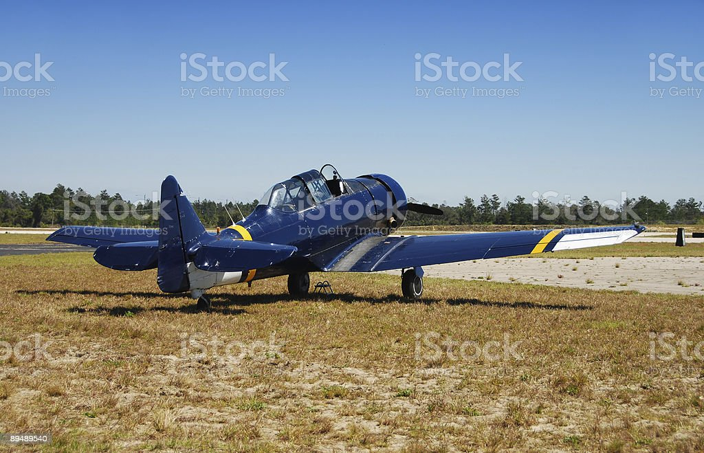 Classic blue airplane royalty-free stock photo