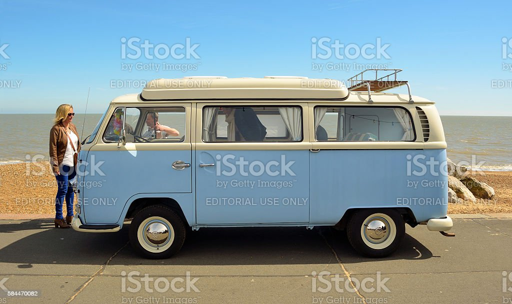 Classic Blue and white Volkswagen camper van stock photo