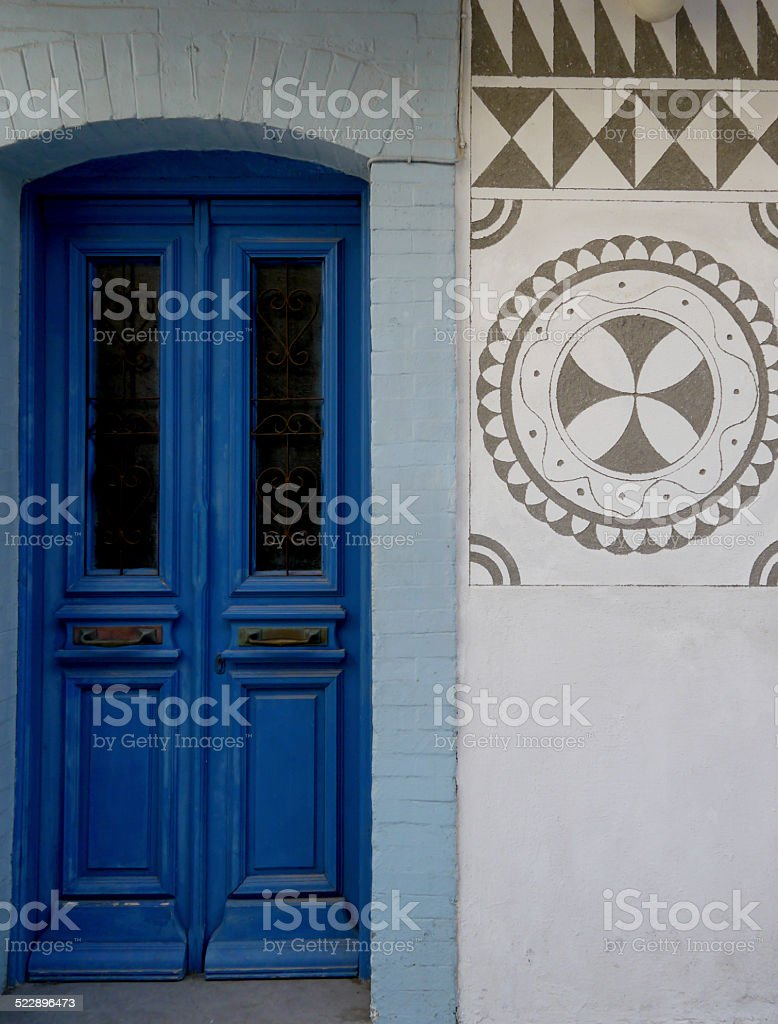classic blue greek doorway stock photo