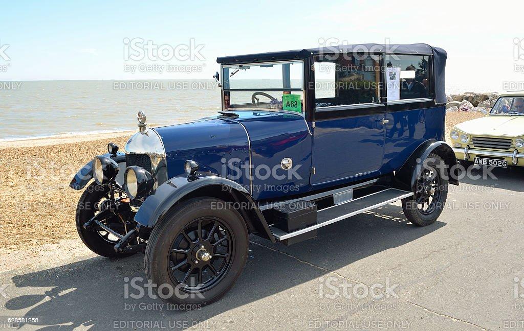 Classic Blue Morris Oxford motor car stock photo