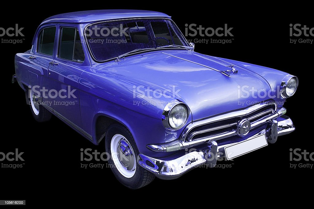 Classic blue retro car isolated royalty-free stock photo