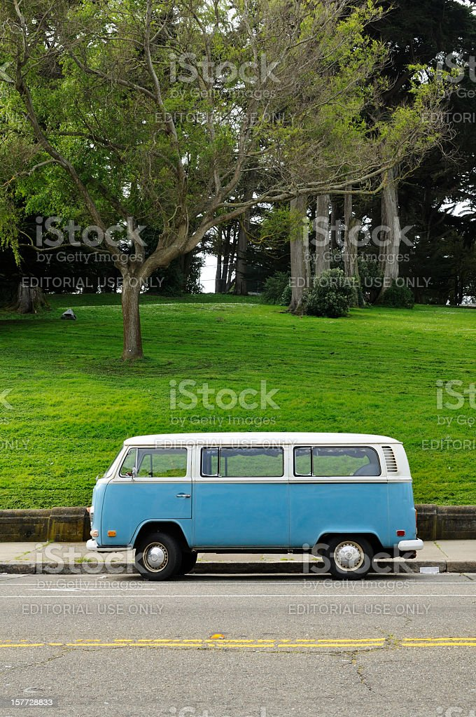 Classic Blue Retro Volkswagen Bus in California stock photo