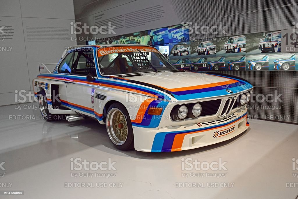 Classic BMW 3.5 CSL in the showroom stock photo